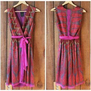Anna Sui for Anthropologie Silk Wrap Dress